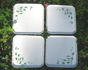 4 Steel Trays, Ivy Leaves, square set, white Serv-a-Dish metal lot 11x11