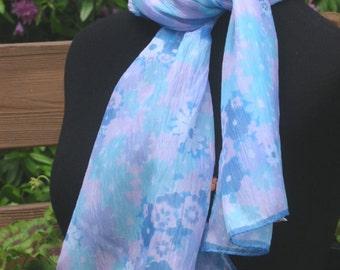 Pastel Crinkle Scarf, floral Glentex from Japan, 43 in length