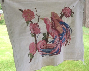 Tapestry Bird amid Roses, Needlework panel in Pink, yellow and blue 22 x 28