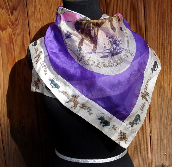 silk yippee ride em cowboy scarf purple 40s western bronco