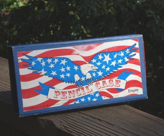 Pencil case, Blue and Red with Eagle, stars and stripes, Snap shut