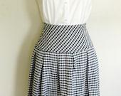 Vintage Navy Houndstooth Pleated Skirt