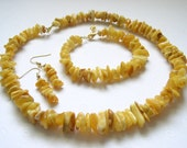 Charming Natural Butterscotch Baltic Amber Beaded Necklace Bracelet Earrings 3 Piece Set