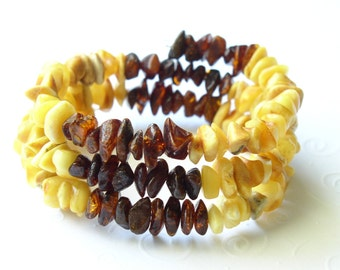 Natural Butterscotch Honey Baltic Amber Oval Shape Memory Bracelet