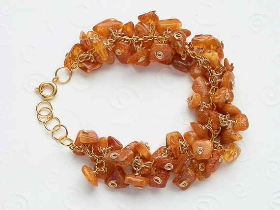 Gorgeous Rich Honey Baltic Amber in Yellow Gold Color Bracelet