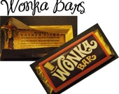 Custom Willy Wonka Bar Golden Ticket Party Invitations Chocolate Candy Wrappers