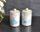 Vintage Dutch Spice Anitque Tins Cloves and Allspice Windmill Rustic Farm Tins for your Country Kitchen