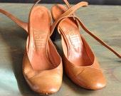 Vintage Leather Shoes  Brown Heels
