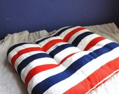 Vintage Patriotic Seat Cushion in Red White and Blue Independence Day