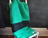 Vintage Wool Blanket Hudson Bay Style Green and Black Stripes