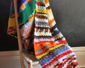 Vintage Afghan Blanket Crazy Style Color Explosion
