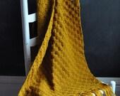 Vintage 70s Afghan Blanket Mustard Yellow Small lap Blanket or Wrap
