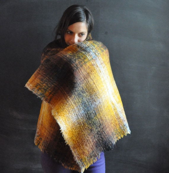 Vintage Mohair  Woven Shawl In Sunflower Yellow and Browns