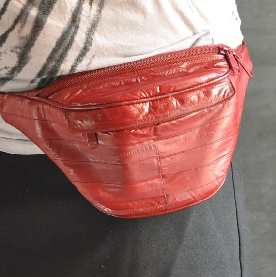 Vintage RED Leather Fanny Pack Pouch for Hands Free Bodily Storage
