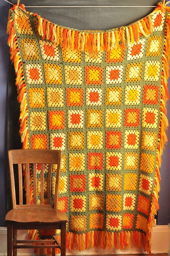 Vintage 70s Afghan Blanket Fall Colors Granny Square