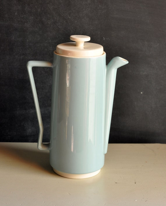 Reserved Vintage Tall  Tea or Coffee Serving Pot Seafoam Green Modern