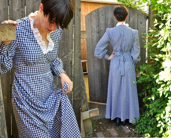 Vintage 1970s Dress Gingham Blue Checkered Maxi Country Prairie Boho Hippie Maiden