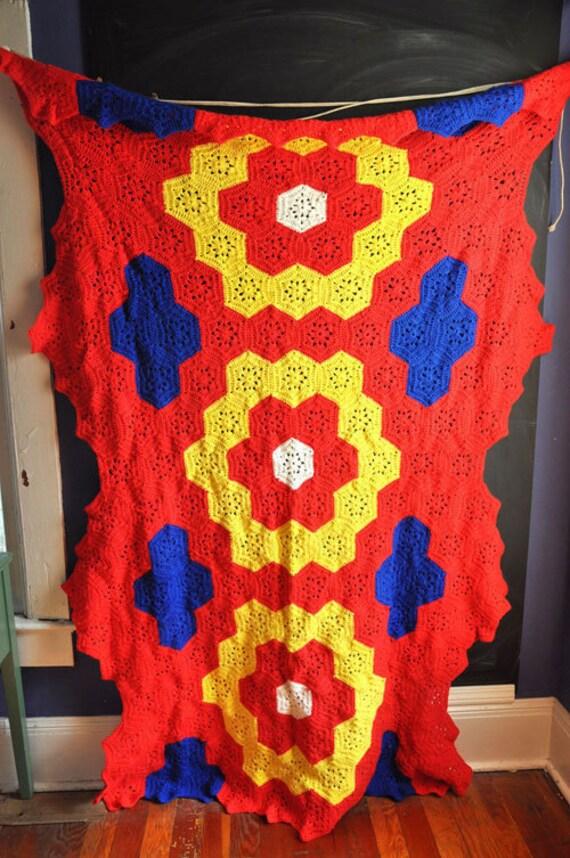 Vintage Handmade Chrochet Afghan  Blanket Giant Primary Color Geometry Red Yellow Blue Hexagons