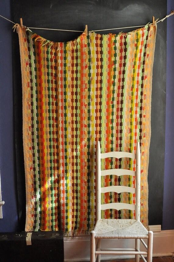 Vintage Afghan Blanket Multi Color Earth Tone Pattern
