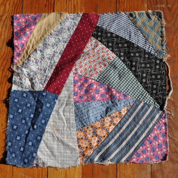 RESERVED Vintage Crazy Quilt Square  LOT Antique Patchwork  Dress Scrap Feed Sack cutter