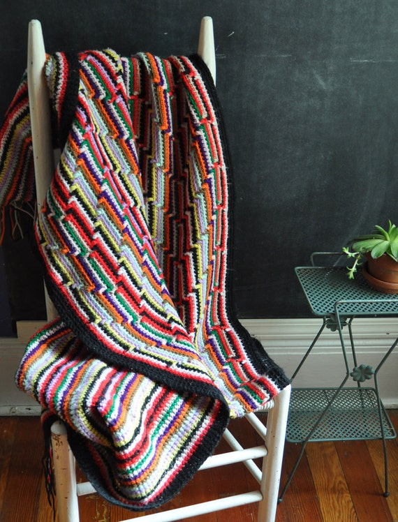 Vintage Crocheted Throw Afghan Blanket Bright Colored stripes