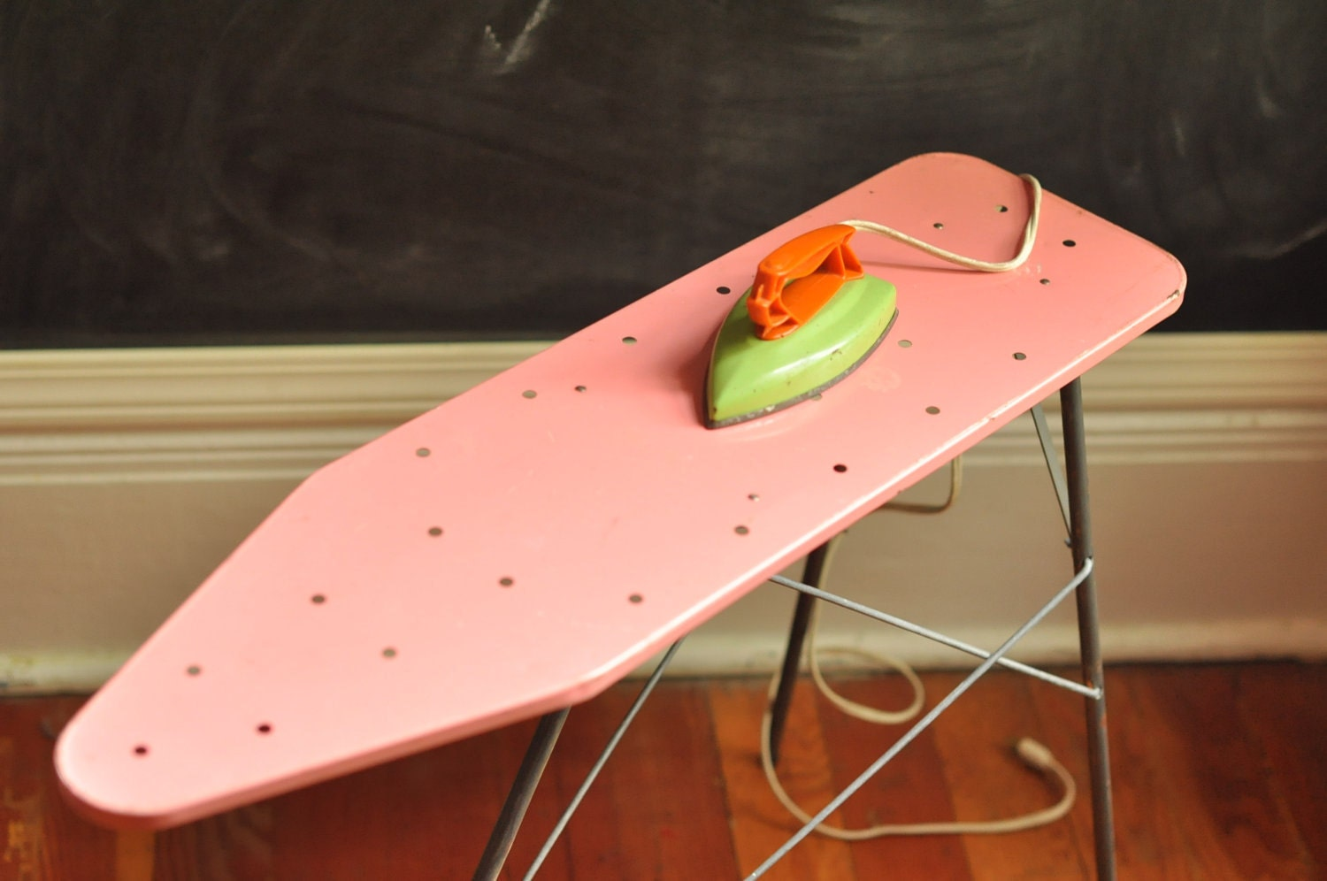 Electric Ironing Board ~ Vintage collectible toy pink metal ironing board and electric