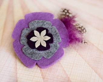Shades of purple felt flower w/feathers hair clip  **Dream Animal Resuce listing**