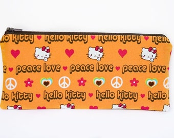 Peace, Love, & Hello Kitty - Large zip pouch