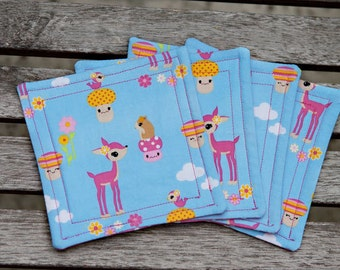 Enchanted Forest - Reversible fabric coasters