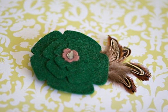 Dark Green felt flower w/ brown quail feathers hair clip