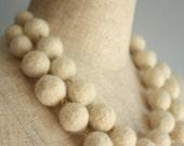 Snow white felt ball double necklace