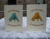 Now is the winter... Gocco printed notecard with envelope