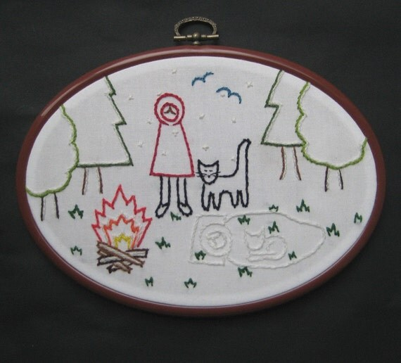 Custom listing for Hilde - glow in the dark Little Red Riding Hood embroidery