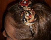 Jungle Print Rolled Fabric Flower on a Headband