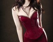 Plunge Latex Corset with Frill - made to order