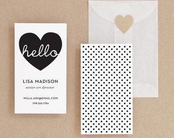 INSTANT DOWNLOAD - Hello - DIY Printable Business Card