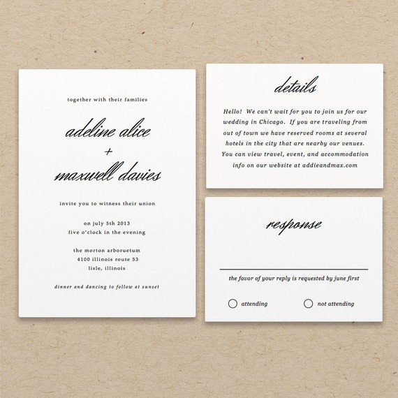 Simple Wedding Invitation Templates: Printable Invitation Template INSTANT DOWNLOAD By