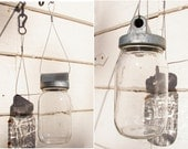hanging jar, repurposed machinery for storage