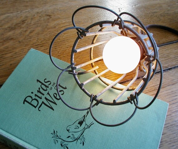 Vintage Industrial Upcycle Drop Light Wire Cage