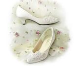 Wedding Shoes Retro 80s Bridal Pure White Floral Beaded  Satin // Sparkling Kitten Heel Retro  Size 9 A Vegan