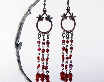 SALE Boho Tribal Fun Glass Beads and Birds Long Earrings Iridescent Red Chandeliers Bronze Birds