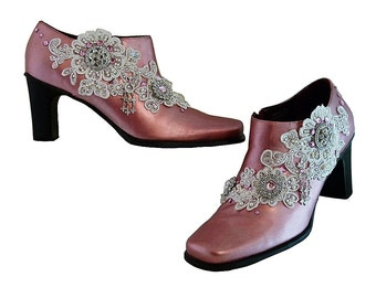 SALE Ankle Boots PINK Leather Lace Rhinestones and Pearls // Rock N Roll Wedding // Princess Fantasy Kawaii //  Marie Antoinette  Size 8M