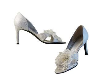 Wedding High Heels Peep Toes  Ralph Lauren // Fairytale White and Soft Silver // Huge Organza Flower w Vintage Crystal Center // Size 7B