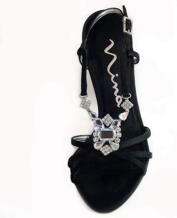 Spiked Heeled Shoes Sandals w/Huge Rhinestone Pendants //  New Years Eve LBD Cocktail  //  Black Satin // Gorgeous Ninas   Size  7M EU 37