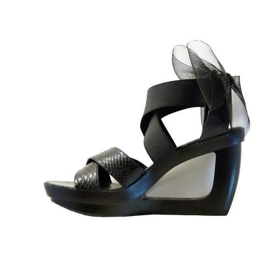Black Platform Sandals 4 Inch Heel Cut Out Wedge by Calvin Klein // Size 7 1/2 M Choice of Crin Buckle Embellishment // Resort LBD