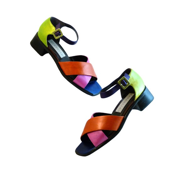 Color Block Sandals Retro 60s Look // Size 8M // Bright Pink Orange Green Purple Blue // Hand Painted // Pucci Twiggy Pop Art Mod
