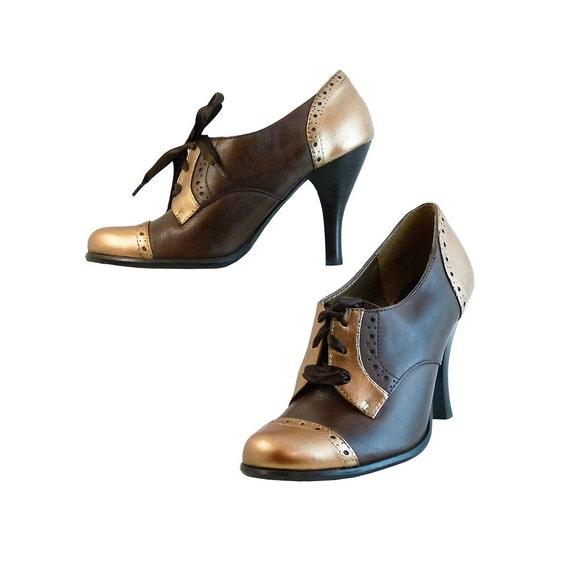 Retro High Heeled Oxfords by Kenneth Cole Tribeca // Chocolate Brown w Copper Gold  // Size  6 1/2 M // Hand Painted Leather // Kawaii Sexy