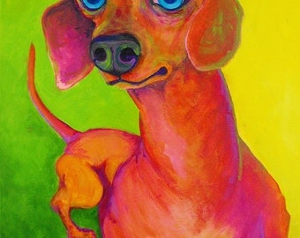 Happy Dachshund Print by C Kelly