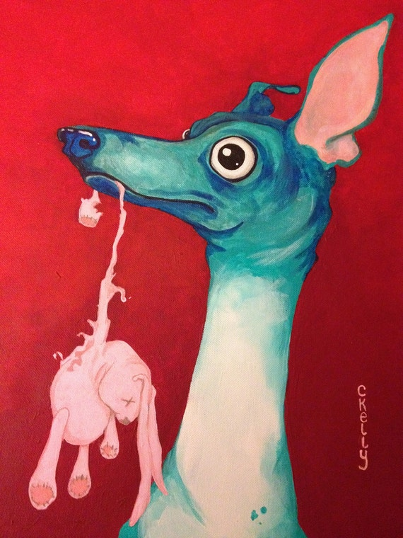 Italian greyhound with toy original painting