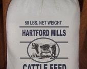 Feed Sack, Flour Sack Bag, Cow Sack, Prim Decor, Country Decor, Muslin Bag, Vintage Feed Sack, Cotton Sack, Hartford Mills Cattle Feed